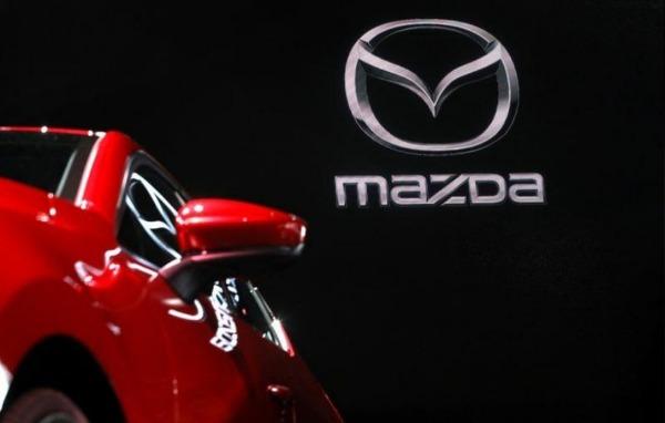 A 2020 Mazda 3 is seen on display at the 2019 New York International Auto Show in New York City, New York, U.S,