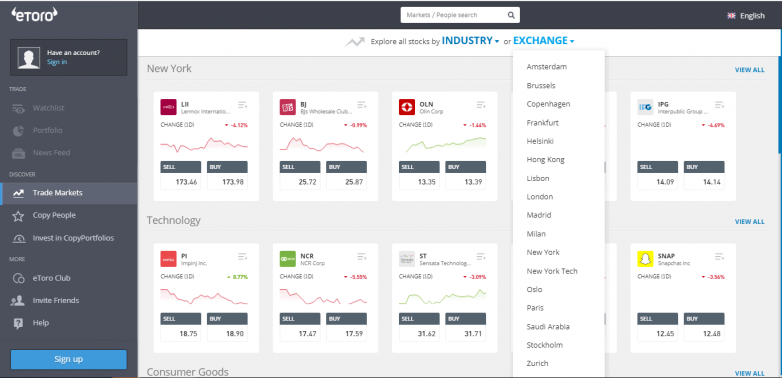 Discover stocks and exchanges