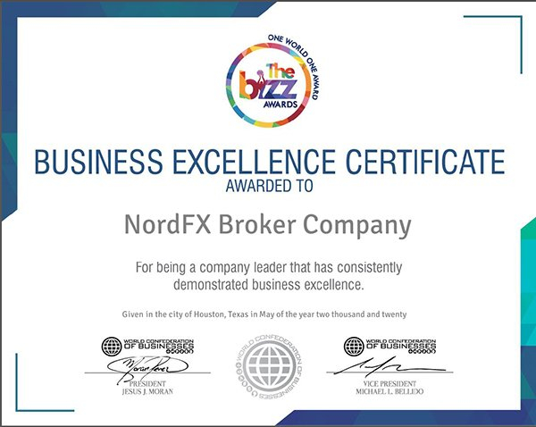 WORLDCOB Presents NordFX with Business Excellence Award